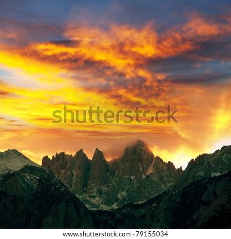 Mountains peak Whitney in Sierra Nevada - stock photo