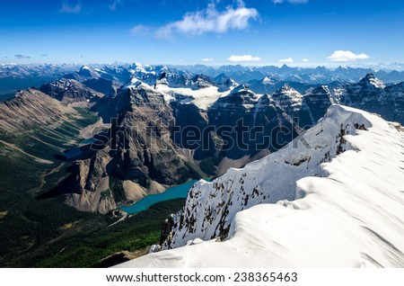 Mountains range view from Mt Temple with Moraine lake, Banff, Rocky Mountains, Alberta, Canada - stock photo