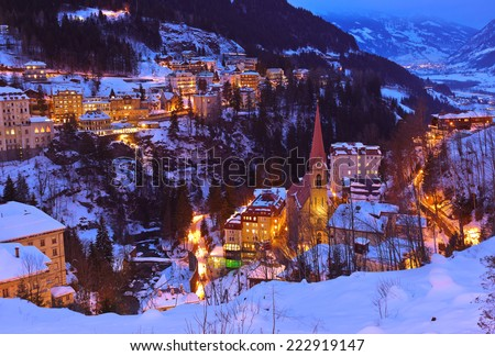Mountains ski resort Bad Gastein Austria - architecture and nature background - stock photo