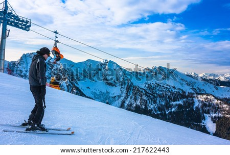 Mountains ski resort in Austria - nature and sport picture  - stock photo