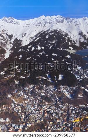 Mountains ski resort Innsbruck Austria - aerial view - stock photo