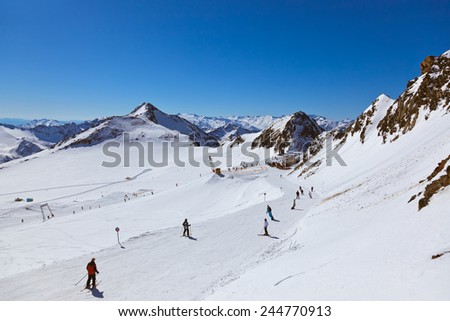 Mountains ski resort Innsbruck Austria - nature and sport background - stock photo