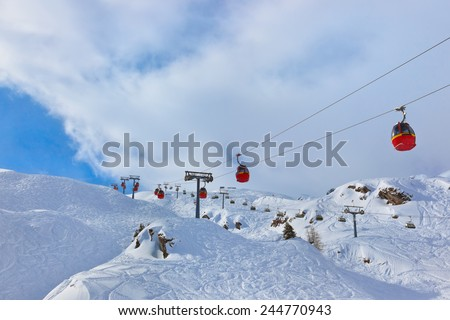 Mountains ski resort Kaprun Austria - nature and sport background - stock photo