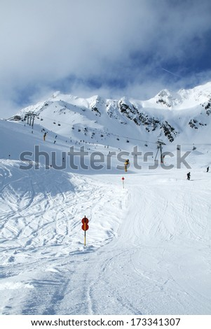 Mountains ski resort Solden Austria - downhill course  - stock photo