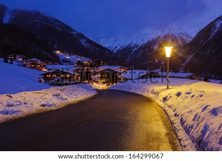 Mountains ski resort Solden Austria - nature and architecture background - stock photo