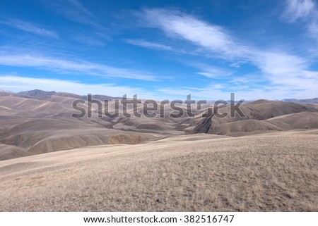 Mountains, the steppe and the sky - this is the essence of Central Asia. Mongolia and Altai - stock photo