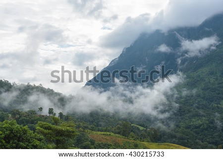 Mountains under mist in the morning, sunrise at the Newfound Gap in the Great Smoky Mountains, Peak of Doi Luang Chiang Dao montains is a 2,175 m high mountain in Chiang Mai Province, Thailand - stock photo