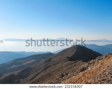 Mountains under the blue sky at dawn. Mountain landscape in Carpathian, Ukraine, Europe. Beauty world. - stock photo