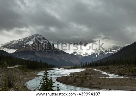 Mountains view of the Canadian Rockies Alberta - stock photo