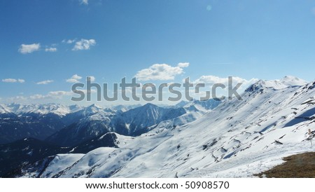 Mountains with clouds - stock photo