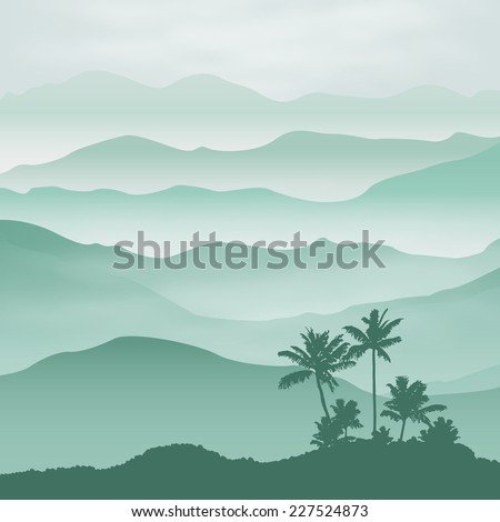 Mountains with palm tree in the fog. Background. - stock photo