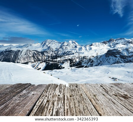 Mountains with snow in winter, Meribel, Alps, France - stock photo