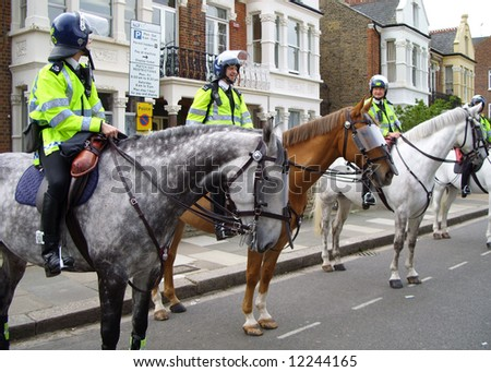 Mounted London police. - stock photo