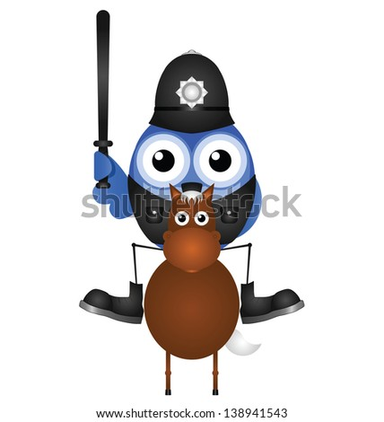 Mounted policeman sat on his horse isolated on white background - stock photo