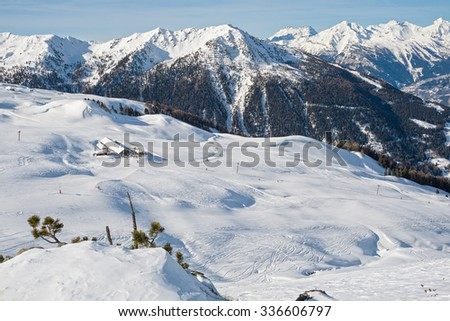 Mounting skiing resort in the Swiss Alps - stock photo