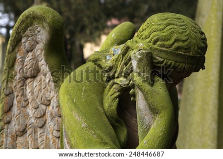 Mourning angel at the Josefov Garrison Cemetery in Jaromer, Central Bohemia, Czech Republic. - stock photo