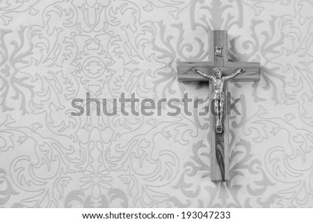 Mourning: Cross on grey ornament background - stock photo