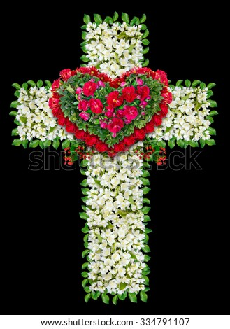 Mourning Jesus wreath as cross . Isolated on black handmade abstract collage from white and red flowers and green leaves - stock photo