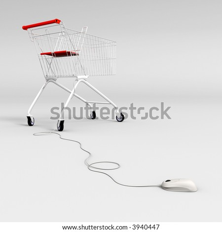 mouse controlled shopping cart - stock photo