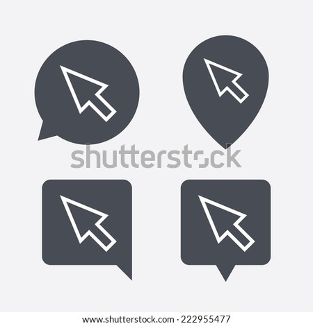 Mouse cursor sign icon. Pointer symbol. Map pointers information buttons. Speech bubbles with icons. - stock photo