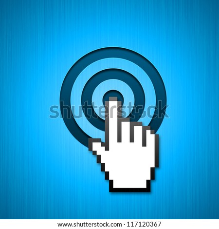 Mouse hand cursor clicking in the bulls-eye. Can be used for targeted presentations and backgrounds / Mouse hand pointer aimed click - stock photo