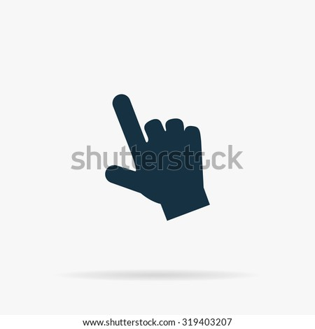 Mouse hand cursor. Flat web icon or sign on grey background with shadow. Collection modern trend concept design style illustration symbol - stock photo