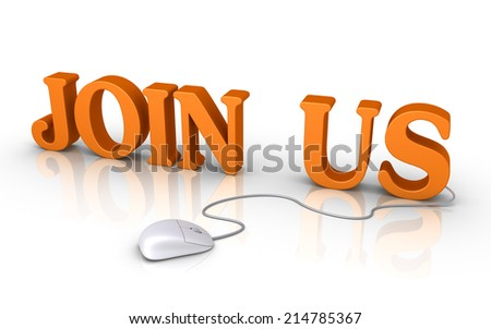 Mouse is connected to 3d JOIN US letters - stock photo