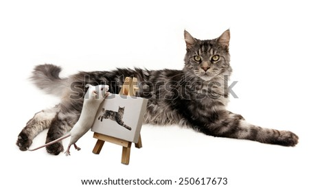 Mouse painting a cat on a white background   - stock photo