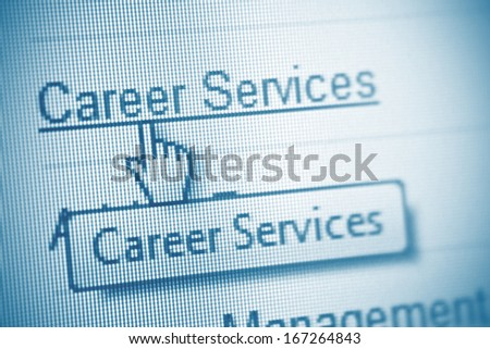 mouse pointing at the word Career on computer screen - stock photo