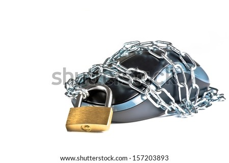 mouse secured by chain and lock on white background with space for text - stock photo