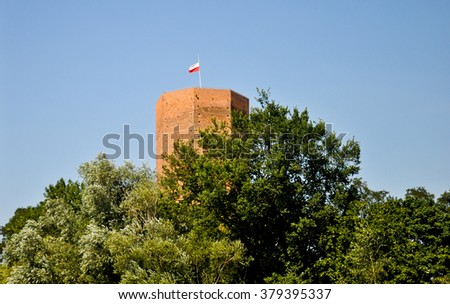 Mouse Tower in Kruszwica, Poland. Well known from the tale about the tragic death of legendary Polish ruler Popiel, who was killed for his cruelty by hordes of mice. - stock photo