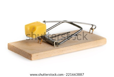 Mouse trap isolated on a white background - stock photo