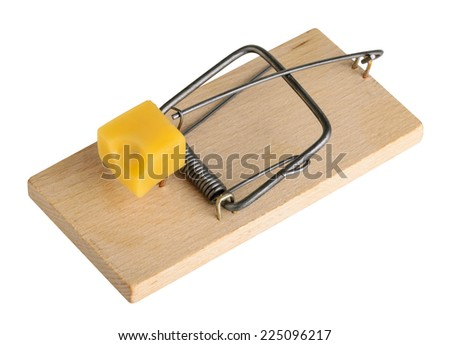 Mouse trap isolated on a white, clipping path - stock photo