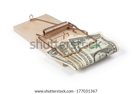 Mouse trap with dollar bills isolated over white with clipping path. - stock photo