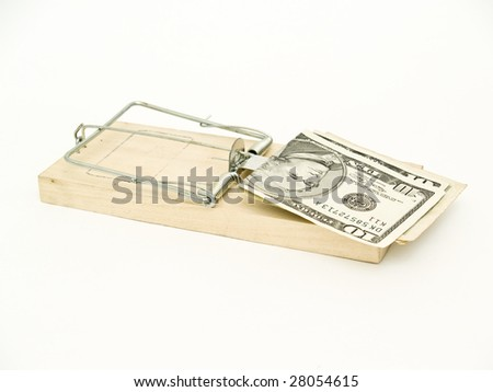 Mouse trap with dollars - stock photo