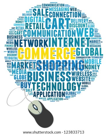 mouse with commerce info-text graphics and arrangement concept on white background (word cloud) - stock photo