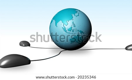 mouse with globe - stock photo
