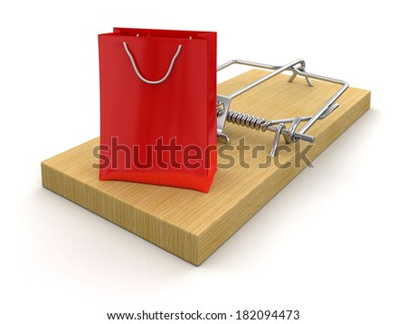 Mousetrap and bag (clipping path included) - stock photo