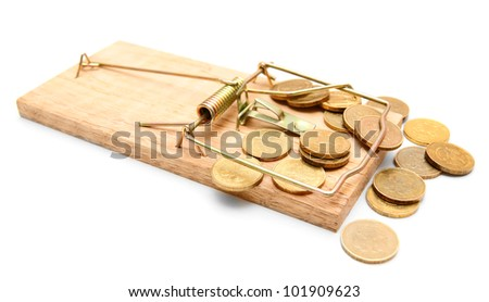 Mousetrap and gold coins. On a white background. - stock photo