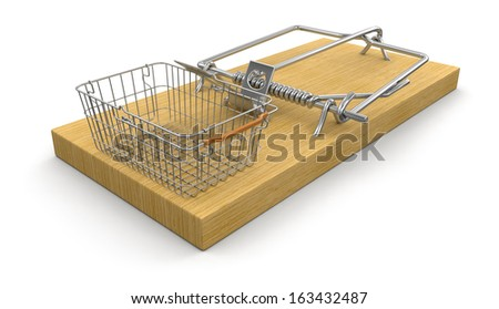 Mousetrap and Shopping Basket (clipping path included) - stock photo