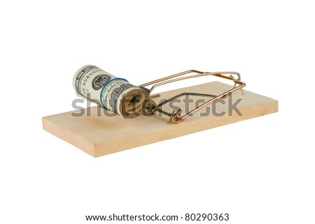 Mousetrap is isolated over a white background - stock photo