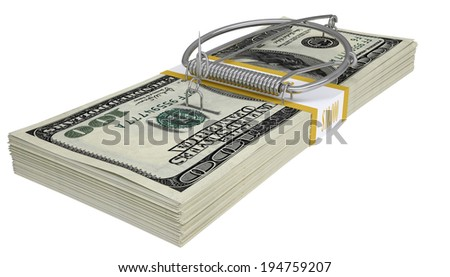 Mousetrap on a pack of money. White background. Business concept - stock photo