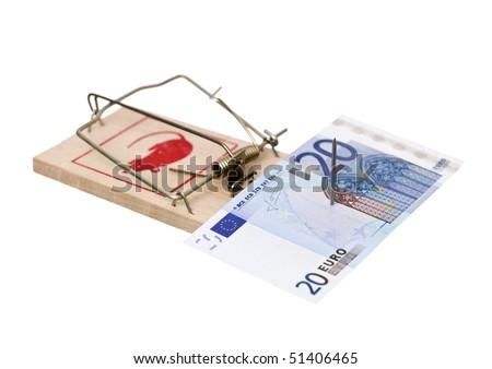Mousetrap with a Euro bank note isolated on white background - stock photo