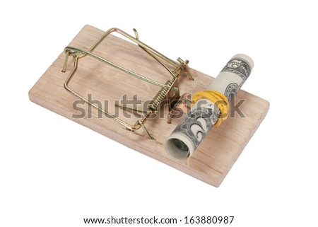 Mousetrap with dollar bill - stock photo