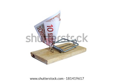 Mousetrap with euro banknote as bait isolated - stock photo