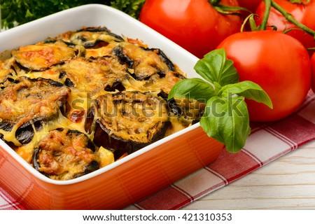 Moussaka - greek casserole with eggplants. - stock photo