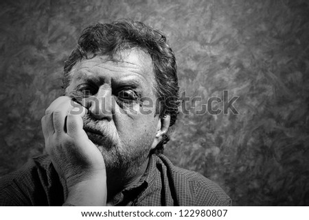 moustached unshaven middle-aged man - stock photo