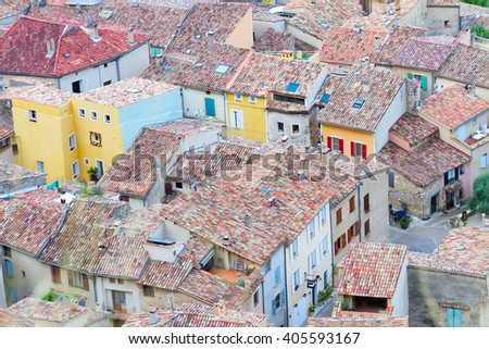 Moustiers-Sainte-Marie, provencal  typical small old town in Provence, France - stock photo
