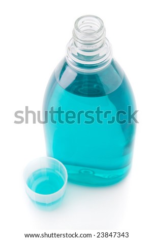 Mouthwash bottle isolated on a white background - stock photo