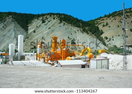 Movable asphalt mixer plants in Turkey. - stock photo